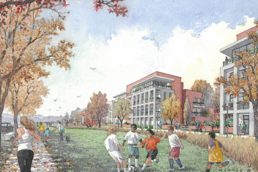 A rendering of the Edge-on-Hudson development that is planned to have 24 acres of public space, including 16 acres of parkland and trails, a 140-room hotel and 1,177 housing units. Credit Hart Howerton/Edge-On-Hudson