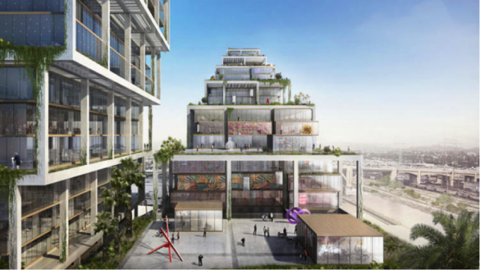 BIG has unveiled a 250-unit mixed-use complex for L.A.'s Arts District (Courtesy Bjarke Ingels Group)
