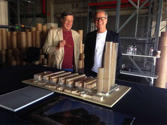 Dan Rosenfeld, left, a developer working with SunCal, and the architect Pierre de Neuron behind a model of the proposed 6AM development (photo: Frances Anderton).