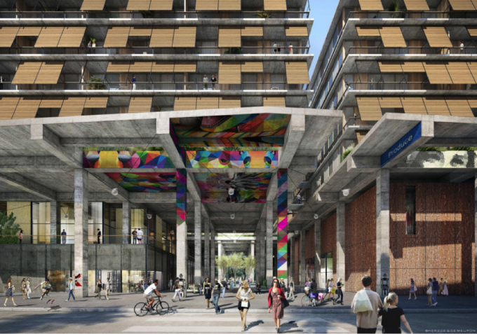 "Entry to the ""Market Yard"" area of 6AM (rendering courtesy Herzog & de Meuron.)"
