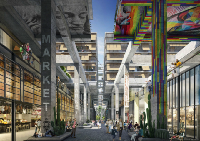 View of one of the project's retail areas. Image Courtesy of Los Angeles Department of City Planning