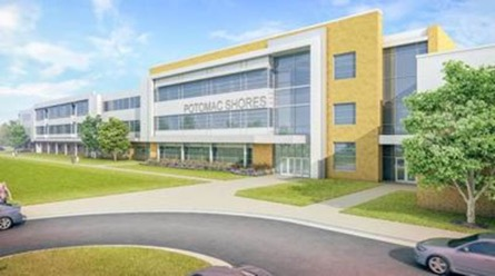 A rendering of the planned Potomac Shores middle school. The school division will begin the naming process for the new middle school in fall 2020 or spring 2021.