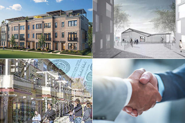"""Clockwise from top left: Edge on Hudson, a new street is planned for New Rochelle, a two-office Stamford campus trades for $16.5M, Westchester multifamily properties selling """"like hotcakes."""""""