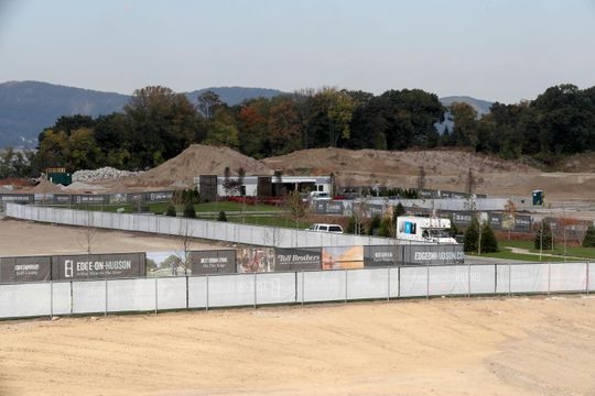 Toll Brothers, developers of the Edge-on-Hudson, a new residential development planned for the site of the former General Motors assembly plant in Sleepy Hollow, has begun construction of townhomes at the site, photographed Oct. 23, 2018. Infrastructure work, the planting of grass, as well as pile driving for foundations is under way.
