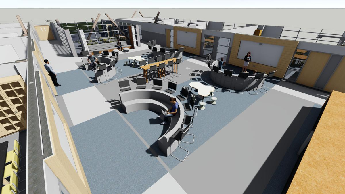 An artist's rendering of a collaborative learning center at the new middle school under construction at Potomac Shores.
