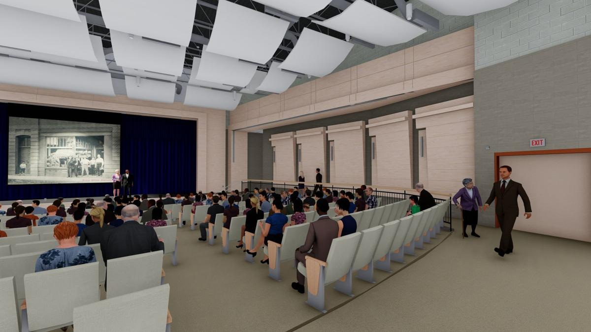 An artist's rendering of the 800-seat auditorium to be included in the new middle school under construction at Potomac Shores.