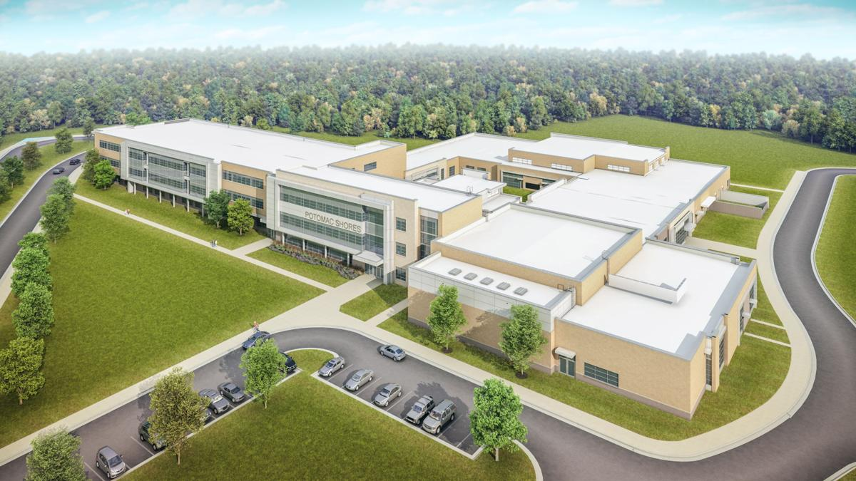 An artist's rendering of the new middle school building under construction at Potomac Shores.