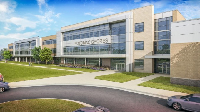 An artist's rendering of the outside of the new middle school at Potomac Shores.